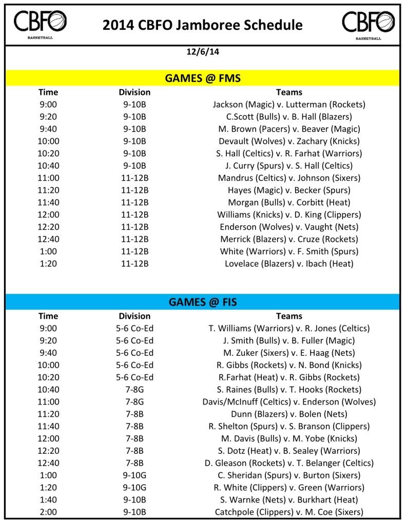 2014 CBFO Jamboree Schedule